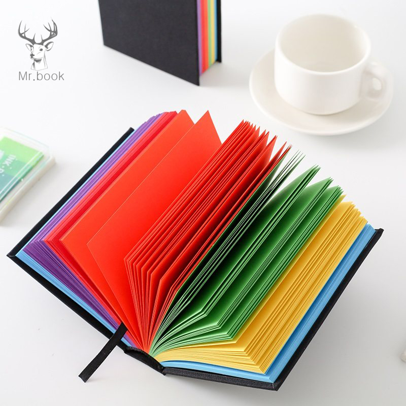 Creative Rainbow Color Pages Notebook Diary Book Black Hardcover Diary Korea Stationery Business Travel Notepad School SuppliesCreative Rainbow Color Pages Notebook Diary Book Black Hardcover Diary Korea Stationery Business Travel Notepad School Supplies