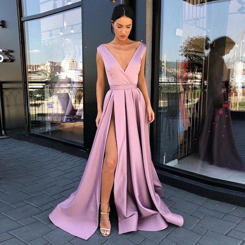 Robes de soirée longues col en v simples Blush rose Satin longueur de plancher dos nu robe de soirée avant fendu robes d'occasion spéciale