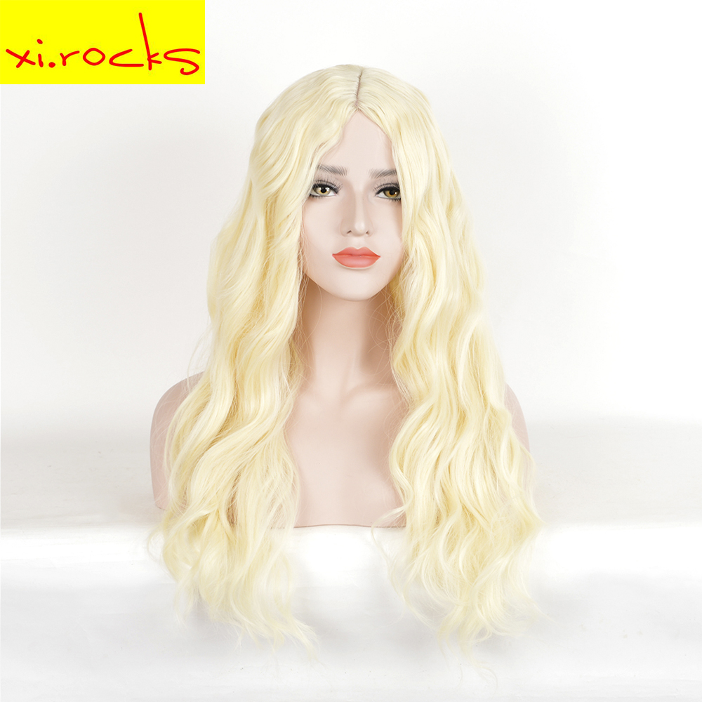 28inch Platinum Blonde Synthetic Long Wavy Wigs For Black White Women Girl Middle Parting Cosplay Costume Wigs Heat Resistant