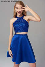 Royal Blue Short Homecoming Dress Cusotm Made New Arrival Sparkly Crystal Bead Sexy Cocktail Good Quality 2019