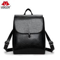 Vbiger Genuine Leather Backpacks Ladies Casual Vintage Cowhide Backpack Oil Wax Leather Fashion Women And Girl