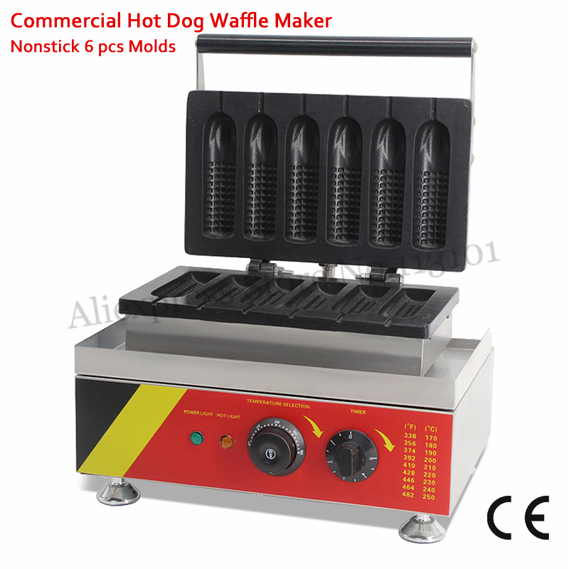 6 Molds Corn-shaped Hot Dog Waffle Maker Lolly Hotdog Waffle Making Machine Nonstick Electric 220V 110V 1.5KW