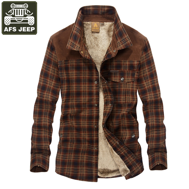 AFS JEEP Brand Shirt Men Casual Shirts Camisa Masculina Fleece Thick Warm Shirts Men Plaid Military Shirt Men Dropshipping M-3XL