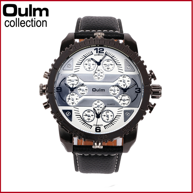 4 Time Zone Leather Band Casual Japan Quartz Movement Wrist Watch Luxury Timepiece 1