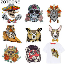 ZOTOONE Skull Iron on Patches Animal Owl Dog Stickers Transfers for Clothes T-shirt Heat Transfer Diy Accessory Appliques F1