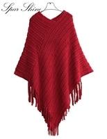 Frauen lange strickjacken pullover pull femme strickjacke capes ponchos frauen Reine Farbe V-ausschnitt Fledermaus Ärmel Fransen Pullover