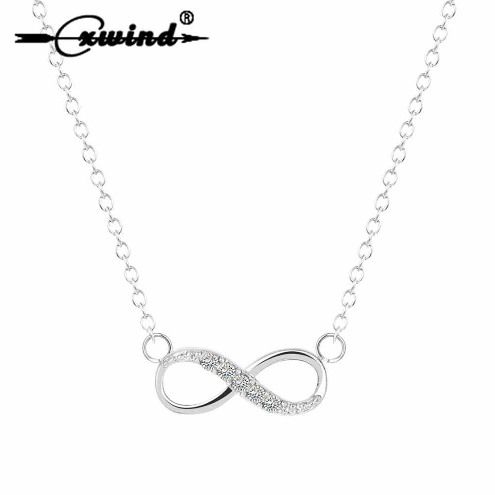 Cxwind Tiny nieskończoność naszyjnik z cyrkonią nieskończoność miłość obietnica Symbol urok dla damski łańcuszek najlepsze naszyjniki collares