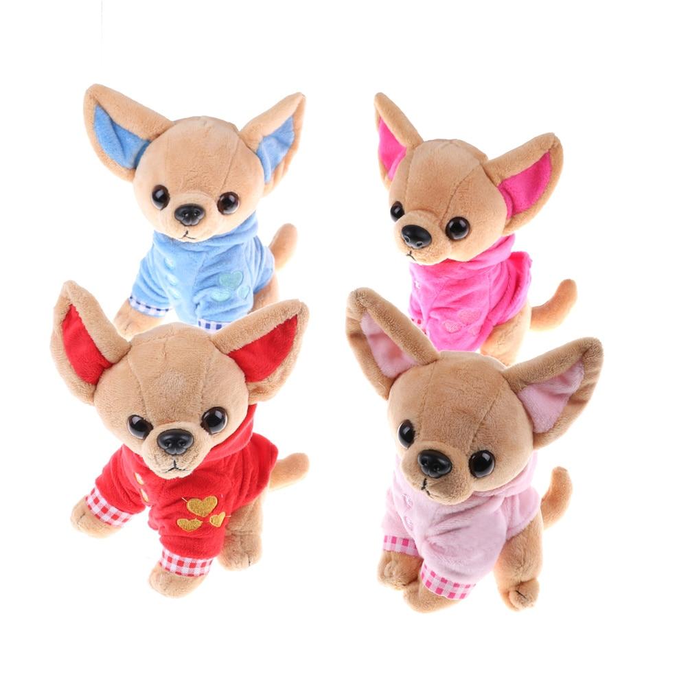 1 adet yeni sevimli 17cm Chihuahua köpek peluş oyuncak doldurulmuş çocuk doğum günü yılbaşı hediyesi çocuk oyuncakları 4 renkler