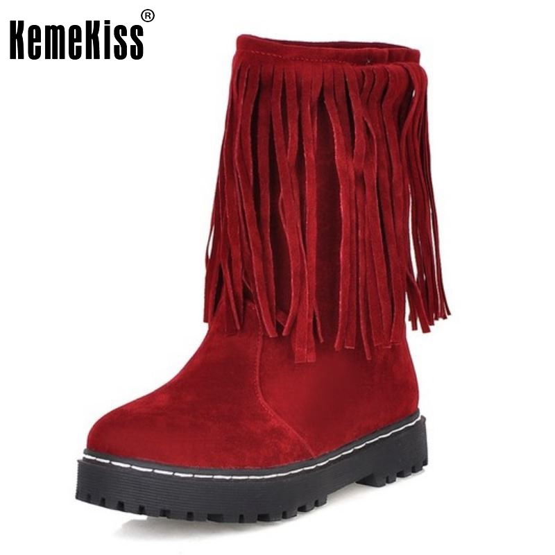 Women Flat Half Short Boots Rivets Taseel Winter Warm Vintage Mid Calf Boot Botines Mujer Snow Footwear Shoes Size 34-39 women flat half short boot mid calf warm winter snow boots thickened fur plush botas fashion footwear shoes p22021 size 34 43