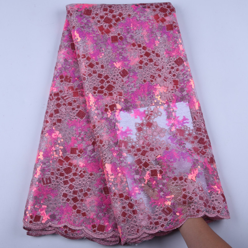 Latest African Dry Lace Fabrics High Quality French Mesh Lace Fabric With Sequins High End Nigerian