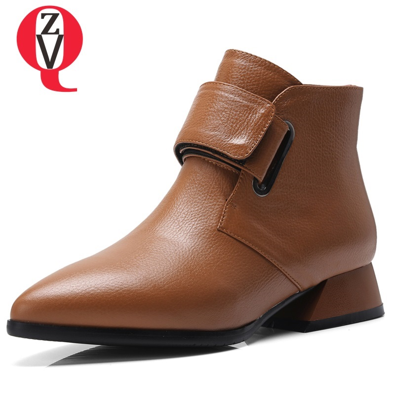 ZVQ new high quality genuine leather ankle boots fashion pointed toe low square heel hook and loop black and brown women shoes roomble комплект тарелок zanotty i