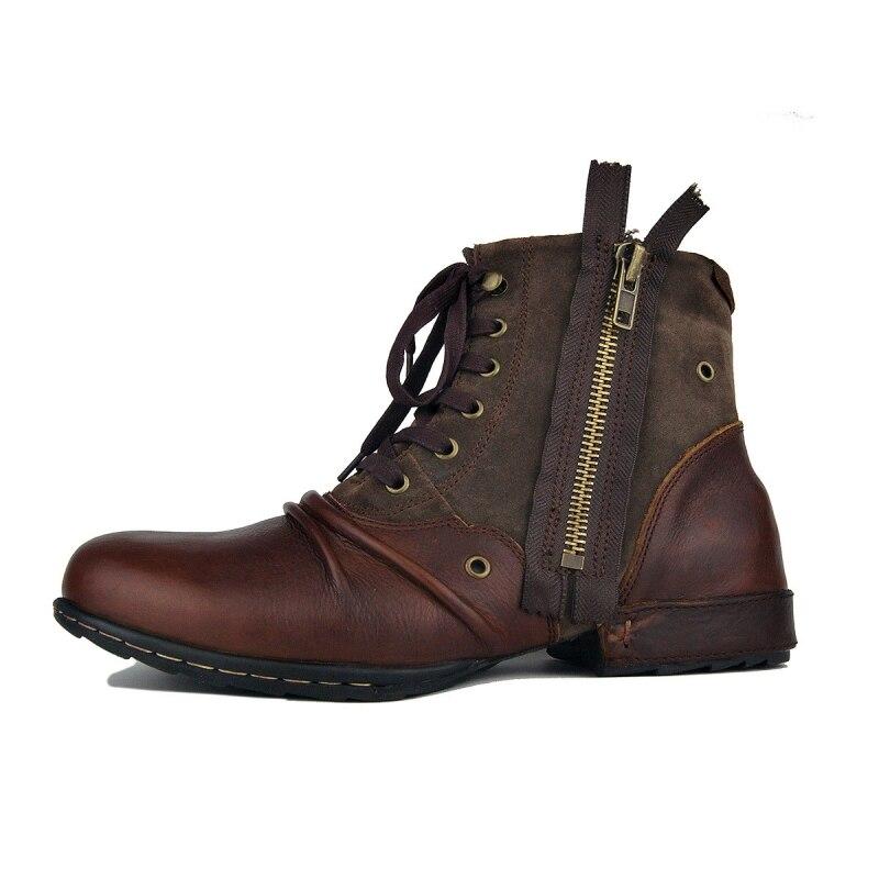 Grande taille Vintage Zipper hommes bottes de travail de haute qualité bout rond en cuir véritable cheville bottes décontracté bottes d'équitation Zapatos Hombre - 2