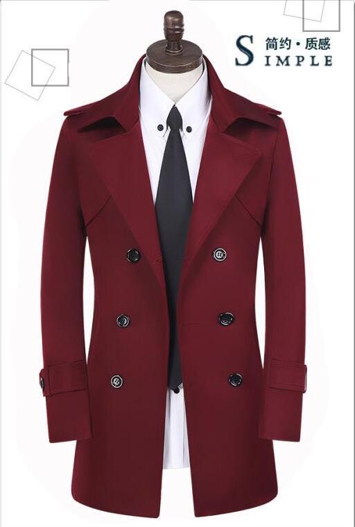 Φτηνές khaki άνοιξη διπλό breasted trench παλτό - Ανδρικός ρουχισμός - Φωτογραφία 3