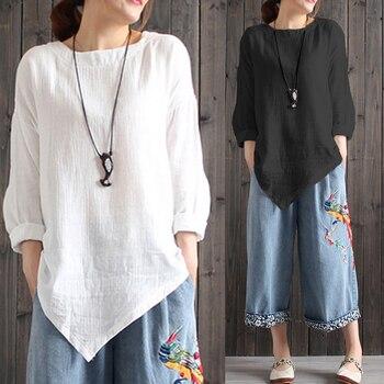 413977e363203d3 Cellia Женские винтажные хлопковые блузки 2019 осенние рубашки с длинными  рукавами больших размеров Асимметричные Топы повседневные свободные .