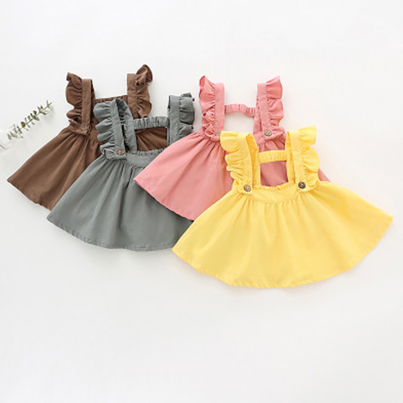 Children Suspender Skirt Girls Clothes Ruffles Strap Pleated Many Colors For Baby Girl Toddler Corduroy Suspender Skirts button front denim suspender skirt