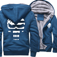 Thick Hoodies Men 2017 Winter Fleece Warm Sweatshirt With Hat Print Punisher Skull Hip Hop Punk