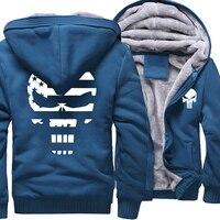 Thick Hoodies Men 2018 Winter Fleece Warm Sweatshirt With Hat Print Punisher Skull Hip Hop Punk