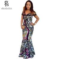 The Summer Of 2017 New African Women Dress Ankara Batik Stitching Net Gauze High Quality Sewing