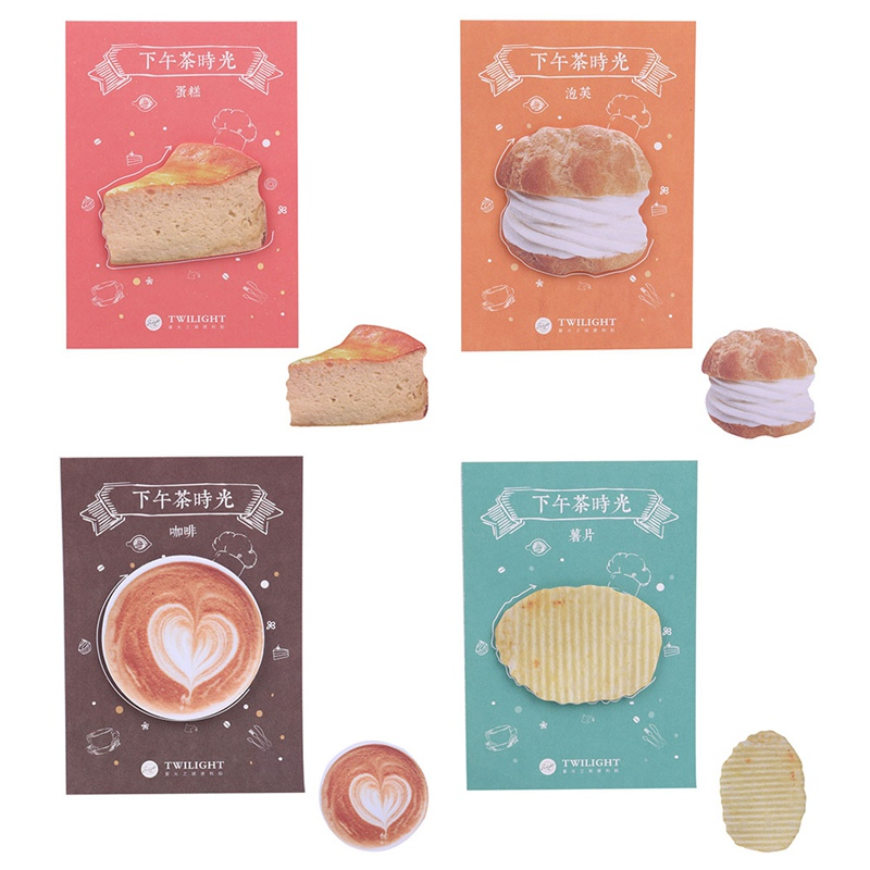 Creative Afternoon Tea Memo Pad Paper Sticker Puffs/Cake/Coffee/Potato Chips Memo Pad Sticky Note Post It Kawaii Stationery cute kawaii egg donuts memo pad post it note creative toast sushi sticky paper korean stationery free shipping 3343