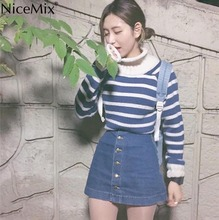NiceMix 2019 Autumn Stripe Sweater Women Pullovers Knitted O-neck Knitwear Fashion Woman Clothes Pull Femme Jersey Mujer
