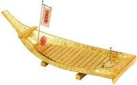 Japanese Rotating Acrylic Golden Sushi Boat With Flag Cuisine Salmon Sushi Patter Sashimi Dragon Boats Dimension