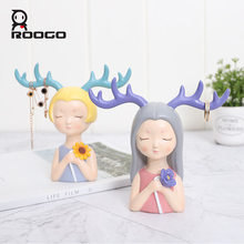 ROOGO home decoration accessories figurine modern resin crafts cute girl brithday party wedding gifts living room