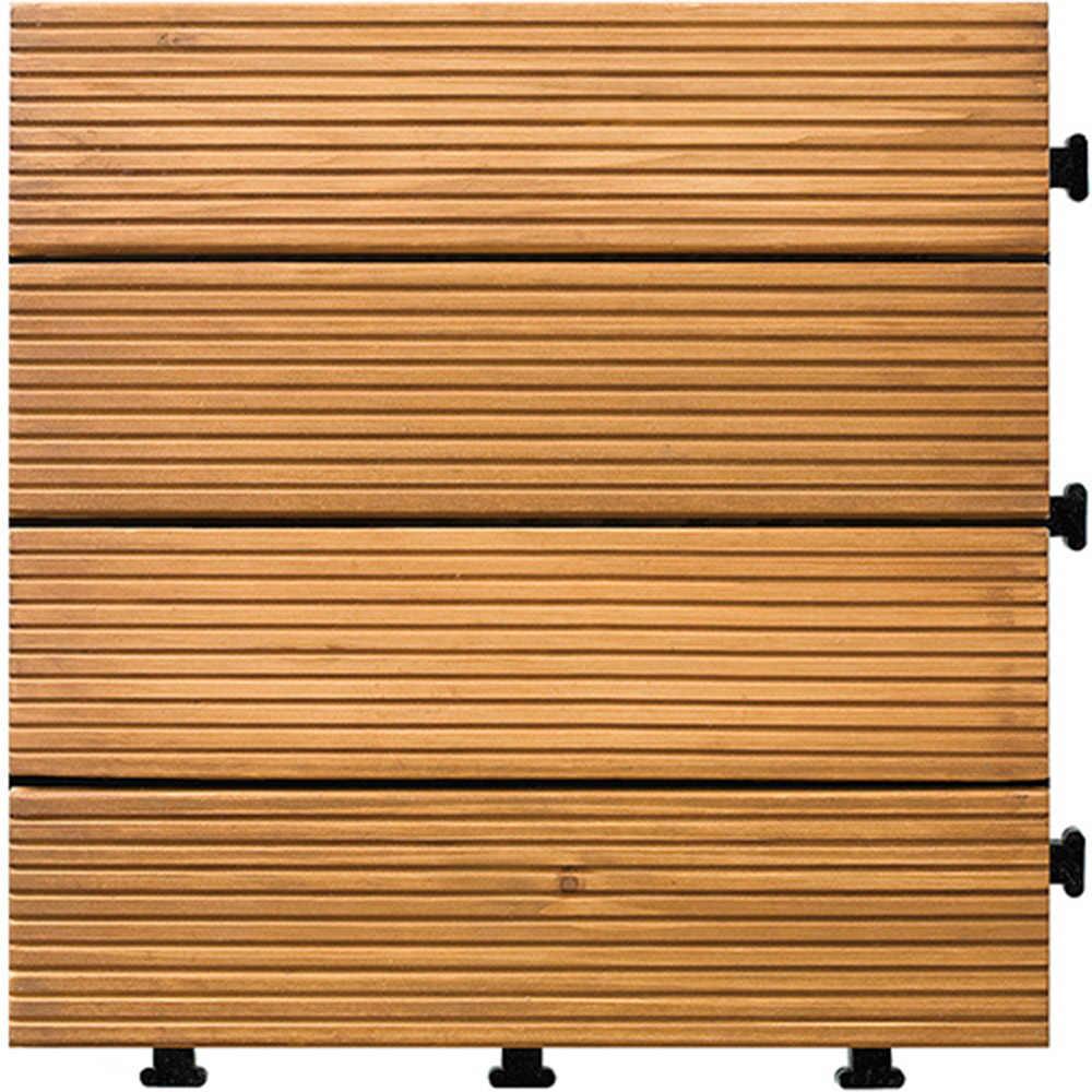 1PC 連動フローリングタイルで固体チーク材の屋内と屋外のアプリケーションのための適切なストライプパターン 30*30*2.7 センチメートル