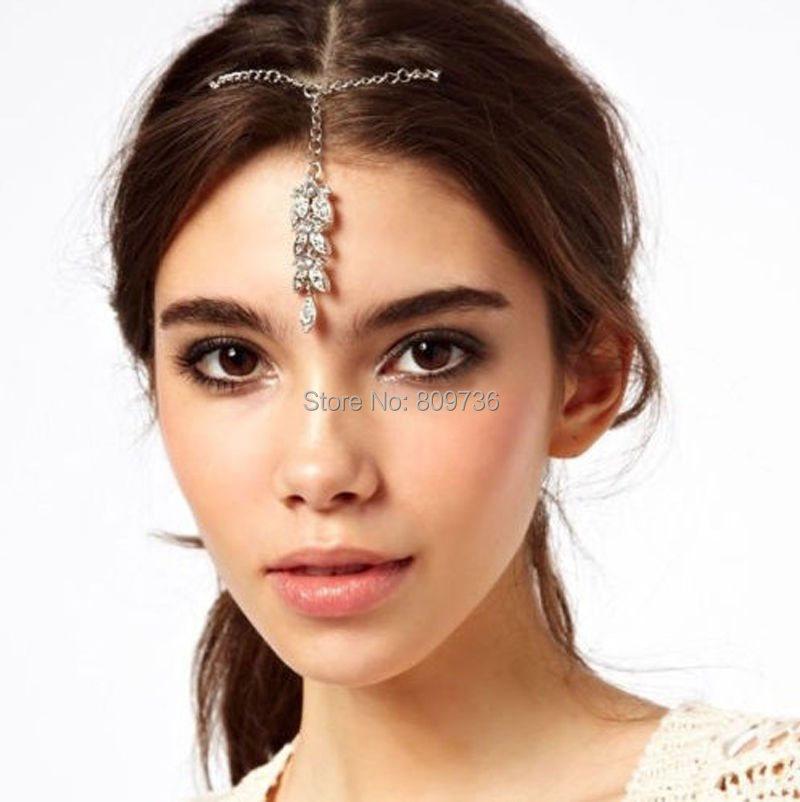 1PC Boho Style Lady Flower Crystal Bindi Hair Tikka Clip Indian Head Jewelry For Party Wedding Dance Gift Drop Ship