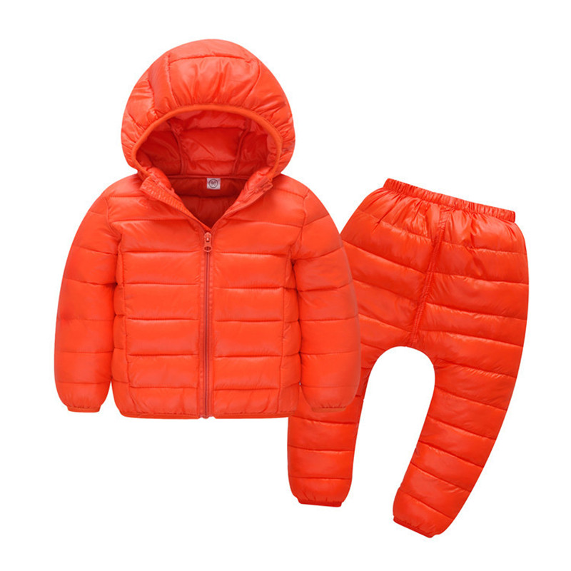 Children Set Boys girls Clothing sets winter 1-5year hoody Down Jacket + Trousers Waterproof Snow Warm kids Clothes suit 5 color children set baby boys girls clothing sets winter fur collar hoody down jacket trousers waterproof snow warm kids clothes suit
