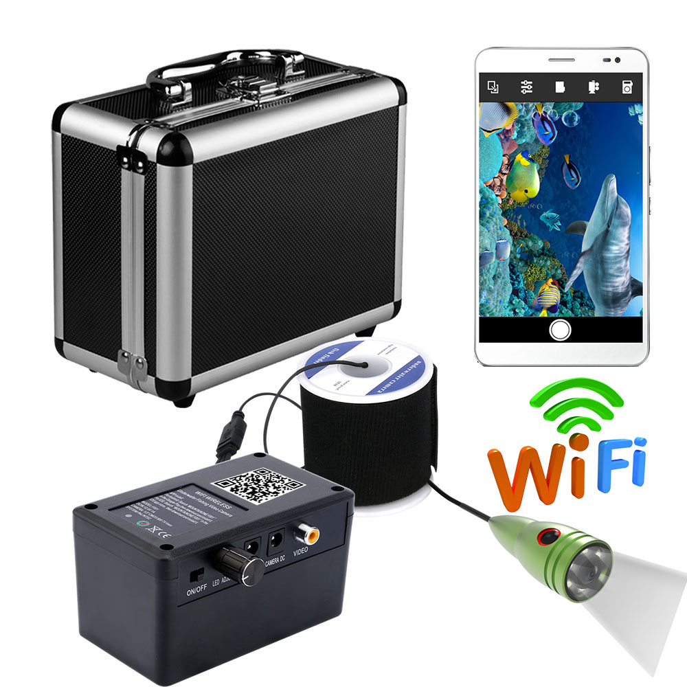 HD 720P Wifi Wireless Underwater Fishing Camera Video Recording For IOS Android APP ,6 PCS 1W White LEDs
