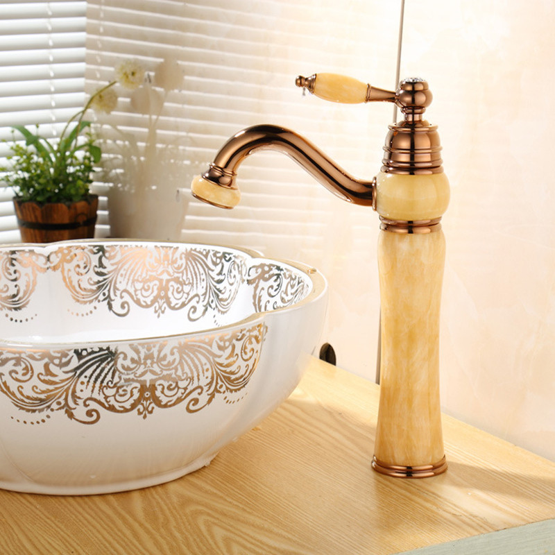 Basin Faucet Rose gold Brass Jade Body 360 Degree Swivel Bathroom Basin Faucet Deck Mount Countertop Water Mixer Torneira Cocina