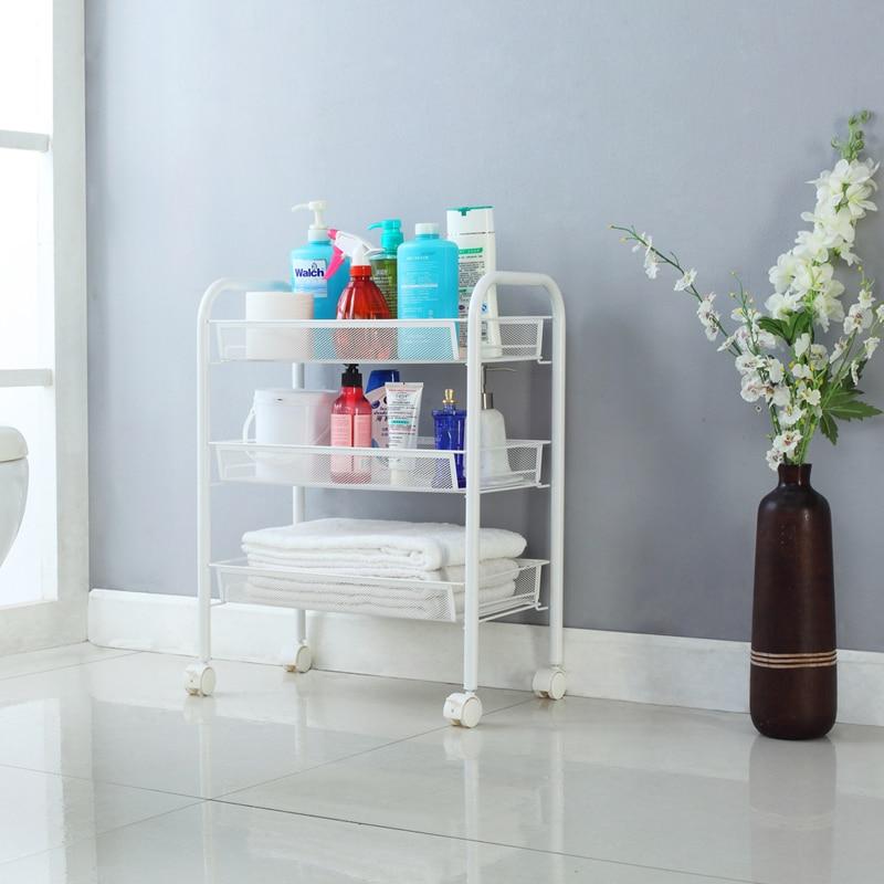 2016 new langria 3 tier metal mesh rolling cart bathroom shelves