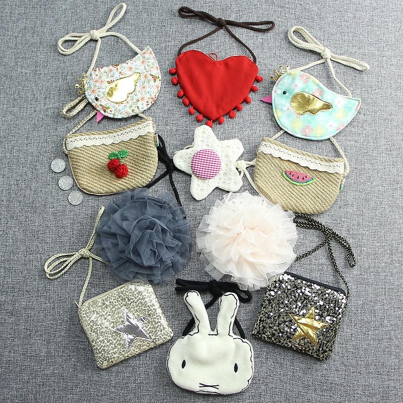 Monsisy Children Handbag Girl Bag Kid Shoulder Bag Kawaii Coin Purse Wallet Bird/Lace Flower/Star Baby Toddler Toy Small Bag bird patch purse