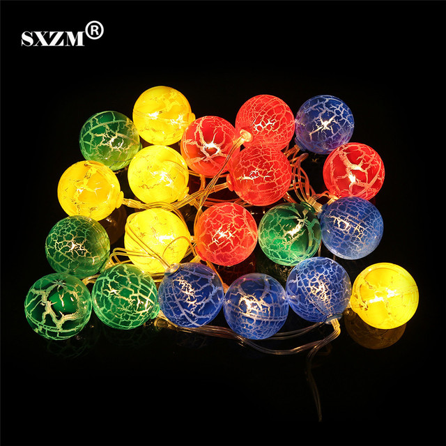 SXZM 2M 20LED Cracked Ball Fairy String light Fashion Holiday Lighting  Wedding Garden Party Christmas indoor Decoration 5296d42749d9