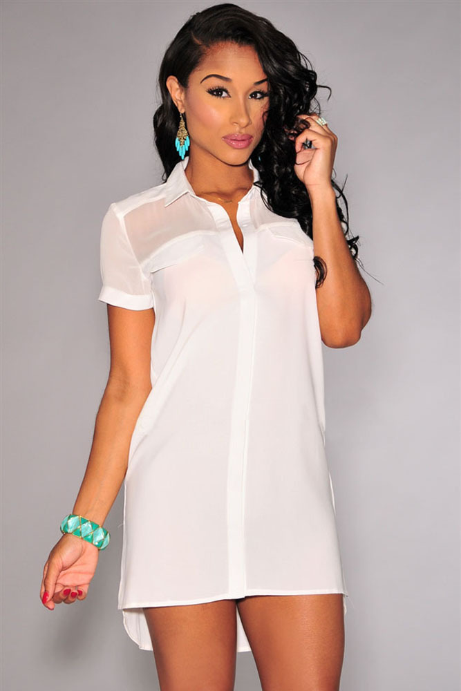 db82607e0bc486 2015 New Fashion Blusas Top Women White Sheer Blouse Shirt Dress V Neck  Casual Sexy Camisa Feminina Boyfriend Style Dress D22184-in Blouses   Shirts  from ...