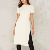 2017 Camisetas Mujer Simple Gray Summer Long T Shirt Short Sleeve Women Clothing White Black S
