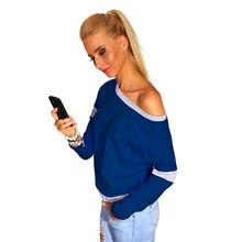 2016 Women Sexy Slash Neck Hoodie Sweatshirt Knitted Long Sleeve Pullovers Polerones Mujer Harajuku Tops