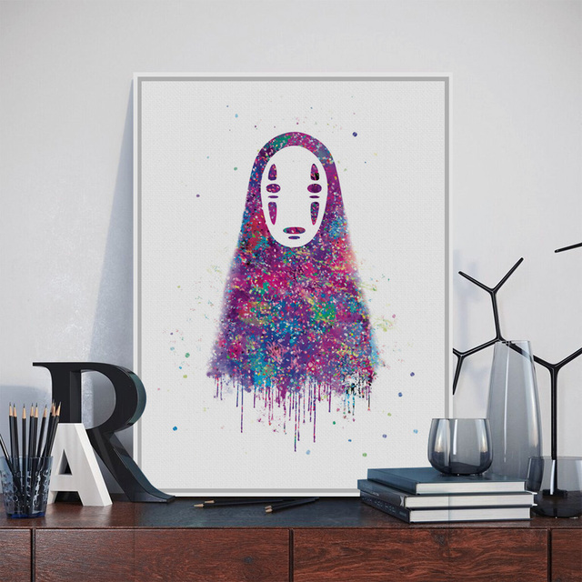 Us 5 57 38 Off Original Watercolor No Face Japanese Hayao Miyazaki Anime Art Print Poster Abstract Wall Picture Canvas Painting Kids Room Decor In
