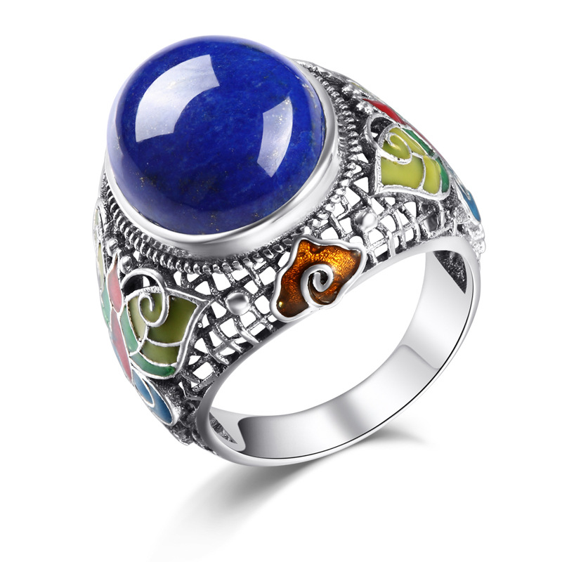 925 Sterling Silver Genuine natural Lapis Thai silver yellow stone ring 925 sterling silver ring natural yellow chalcedony stone 100