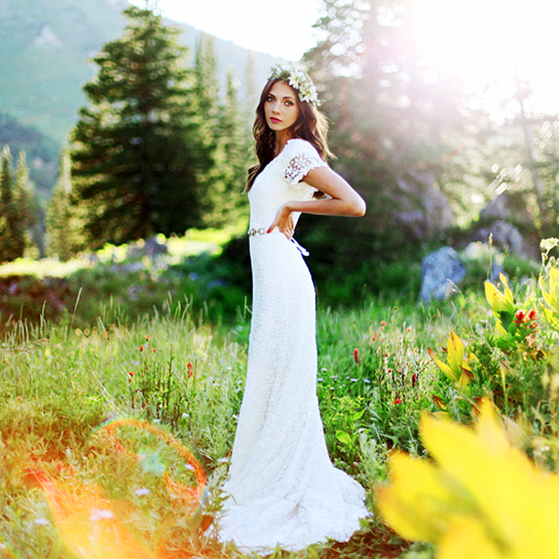 Classic A Line Bridal Gowns Short Sleeve Lace Wedding Dress Order ...