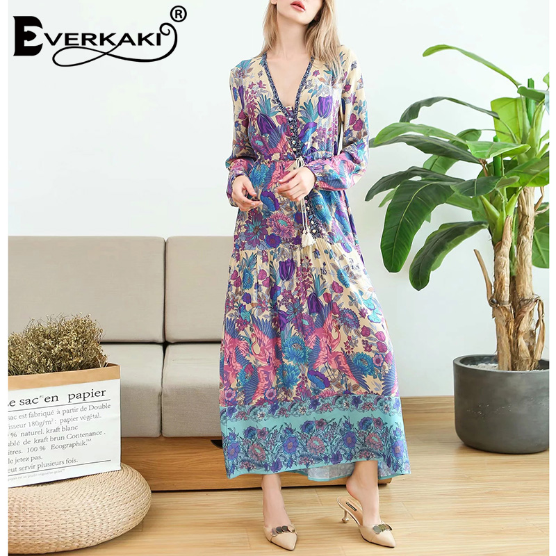 4f245c6439df Everkaki Floral Print Gypsy Dress Women Patchwork Button Waist Belt Lantern  Long Sleeve V Neck Bohemian