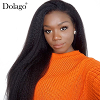 Kinky Straight 360 Lace Frontal Wig 180% Density Lace Front Human Hair Wigs For Women Coarse Yaki Full Black Dolago Remy