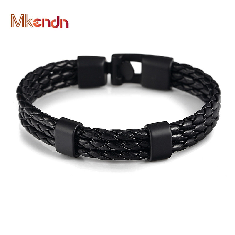 MKENDN FASHION Men Women Black Leather Bracelet Easy-hook Bracelets & Bangles Male Female Punk Jewelry Pulseras