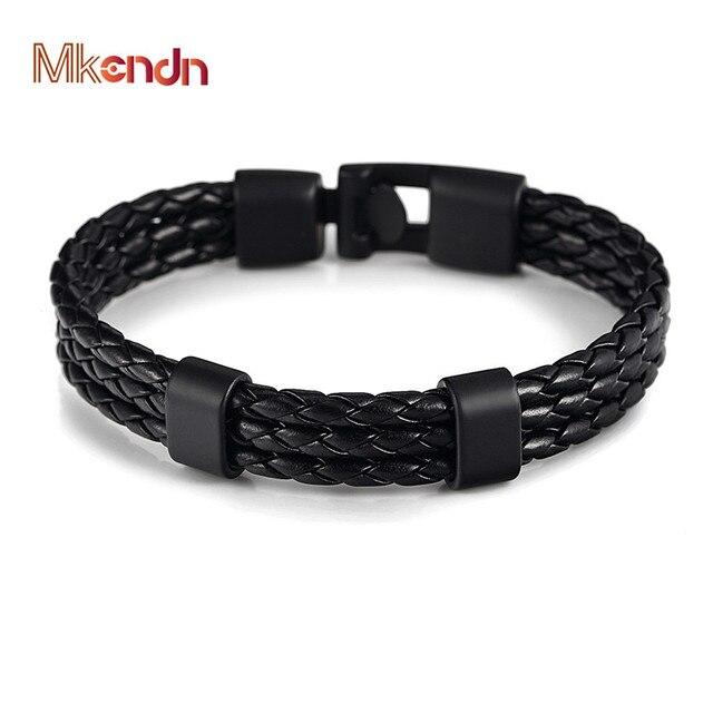 Mkendn Mode Männer Frauen Schwarz Leder Armband Einfach Haken
