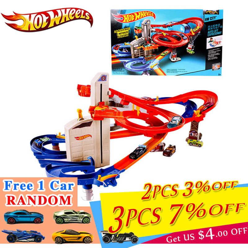 Hot Wheels, chándal de coche deportivo genuino, juguete Educativo, pista de coche, ruedas calientes, pista CDR08, juguetes para chico