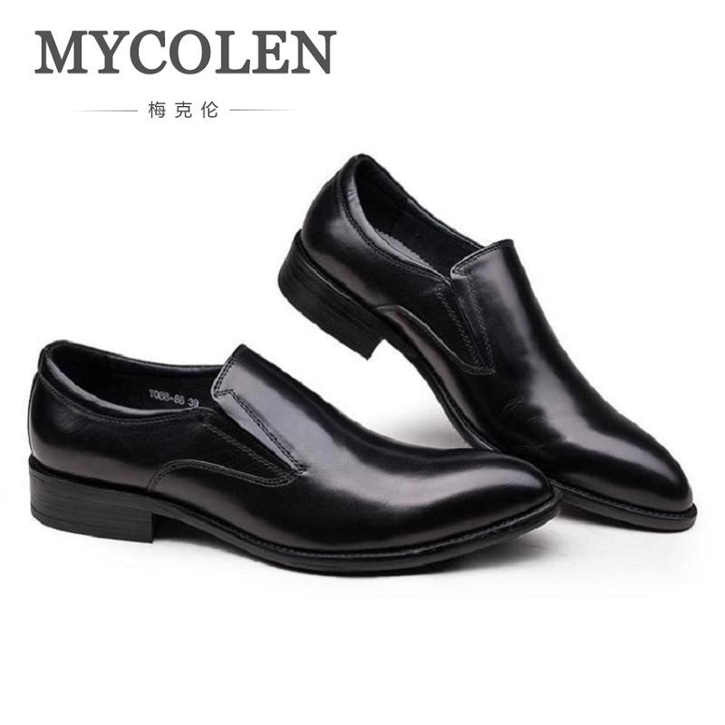 MYCOLEN Loafers Solid Men Leather Shoes Men Casual Fashion Personality Vintage Shoes Slip-On Set Foot Genuine Leather Men Shoes 2017 new spring imported leather men s shoes white eather shoes breathable sneaker fashion men casual shoes