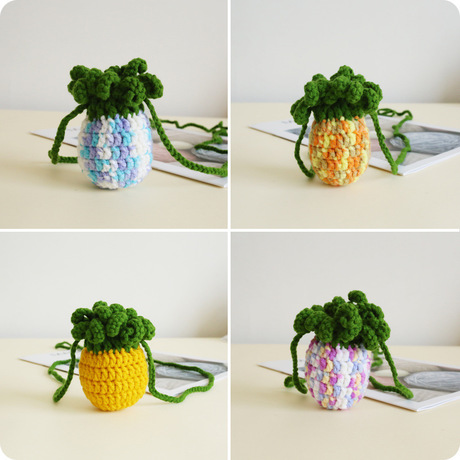 Kawaii Candy Color Pineapple Drawstring Bag Cute Hand Knitting Coin Purse Wool Knitted Lipstick Set Crossbody Bag
