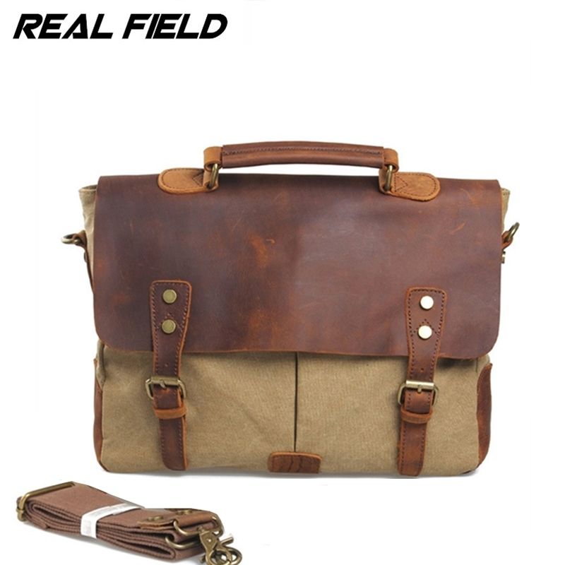 Real Field RF Men Canvas Business Shoulder Bag Canvas Messenger Briefcase Fashion Vintage Crossbody Casual Document Handbags 092