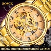 2017 Rome Hollow Engraving Skeleton Casual Design Golden Case Watches Men Luxury Brand Automatic Mechanical Tourbillon