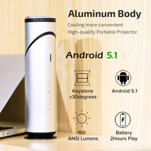 AUN Q9 Portable Projector, 90 Degree Rotatable Lens Projector. Built-in Android 5.1, WIFI, Bluetooth, 3,000 mAH Battery. 1080P